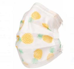 Маска детская одноразовая 3-х слойная Белая с ананасами (50 шт.)